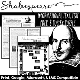 Shakespeare Informational Text, Test Prep, Close Reading, and Poem Puzzle