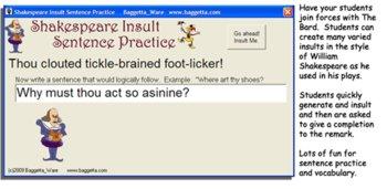 Shakespeare Insult Sentence Practice
