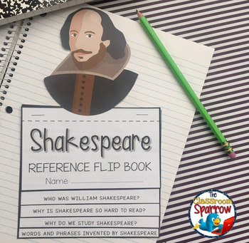 Shakespeare Interactive Notebook Flip book (quick reference and web quest)