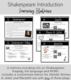 Shakespeare Introduction Learning Stations for Hamlet, Romeo & Juliet, Macbeth