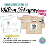 Shakespeare Introduction PowerPoint and Student Notes