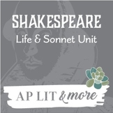 Shakespeare Life & Sonnet Unit - One Week Mini-Unit