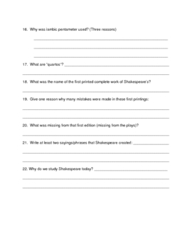 Free Shakespeare Life & Times Introduction Powerpoint Questions
