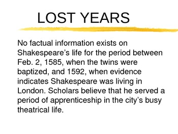 Shakespeare Life and Career Powerpoint Presentation