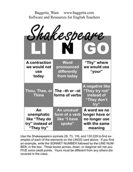 Shakespeare LINGO Assignment