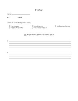Shakespeare Literature Circle Worksheet