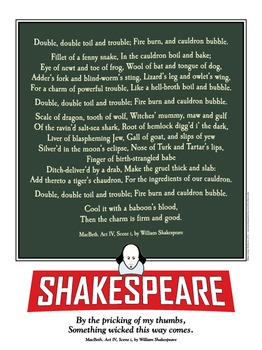 Shakespeare. MacBeth's witches incantation. 18 x 24 printable poster.
