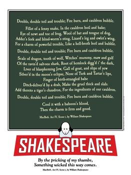 Shakespeare. MacBeth's witches incantation. 18 x 24 printa