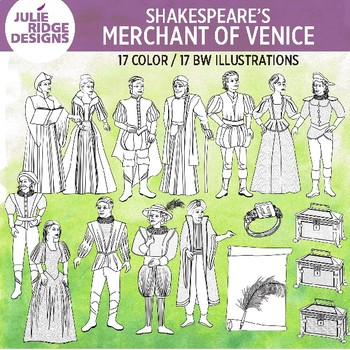 Shakespeare: Merchant of Venice clip art — 34 illustrations