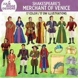 Shakespeare: Merchant of Venice clip art — 34 illustrations