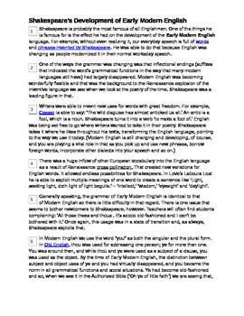 Shakespeare & Modern Language: Non Fiction Reading