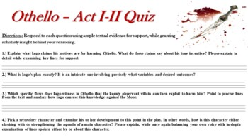 Othello by William Shakespeare - Act I & Act II Short Answer Response Quiz