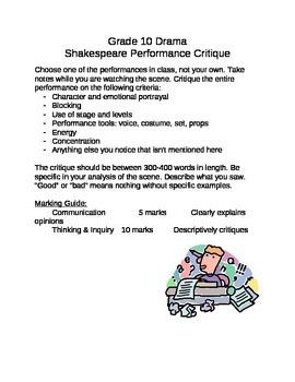 Shakespeare Performance Critique