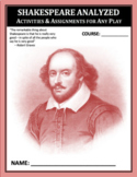Shakespeare Play Package: 16 Activities and Assessments for ANY PLAY