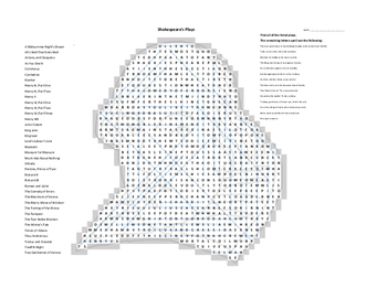 Shakespeare Plays Word Search