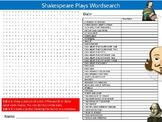 Shakespeare Plays Wordsearch Sheet Starter Activity Keywords English Literature
