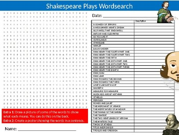 Shakespeare Plays Wordsearch Sheet Starter Activity Keywords English Literature