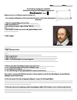 Shakespeare Pre-Teaching Background Assessment