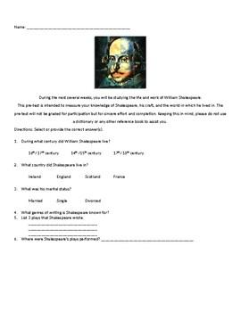 Shakespeare Pre-Test