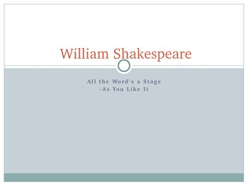Shakespeare Presentation and webquest