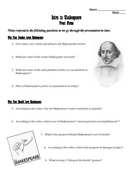 Shakespeare Prezi Intro Worksheet