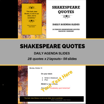 shakespeare quotes daily agenda powerpoint template by smart