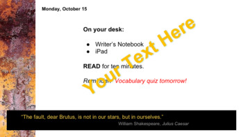 Shakespeare Quotes Daily Agenda PowerPoint Template