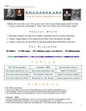 Shakespeare Research Project -- Presentation, Essay, & Quiz