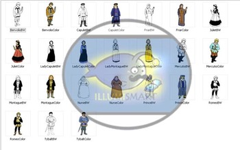 Shakespeare-Romeo & Juliet Clip-Art! 24 pieces (BW and Color!)