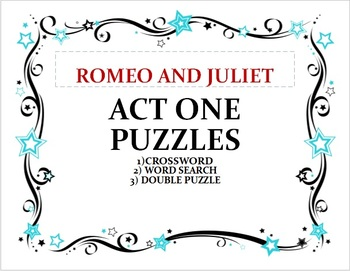 Shakespeare Romeo and Juliet Act 1 Puzzles, Set of 3 with answer keys