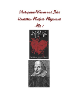 Shakespeare Romeo and Juliet Act 1 Quotation Analysis Assignment