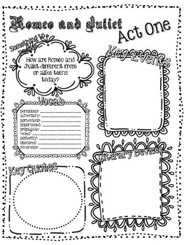Shakespeare Romeo and Juliet Act-by-Act Tracker Graphic Organizer