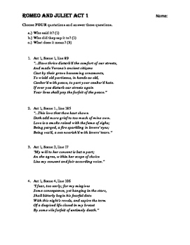 Shakespeare Romeo and Juliet Acts 1-5 Quotation Analysis Assignment
