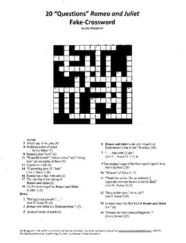 Shakespeare, Romeo and Juliet, Fake-Crossword, 20 questions, all on theme