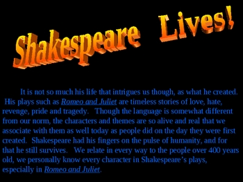 Shakespeare Romeo and Juliet powerpoint power point