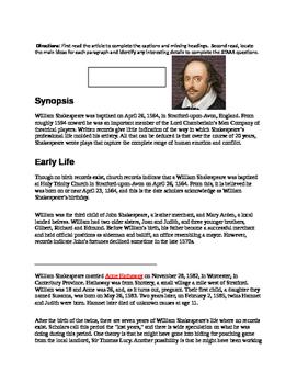 Shakespeare STAAR test Prep.