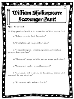 Shakespeare Scavenger Hunt: Introduction to the Author Activity