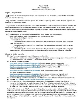 Shakespeare Soliloquies Research and presentation assignment with examples