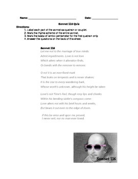 Shakespeare Sonnet 116 Quiz