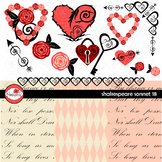 Shakespeare Sonnet 18 Digital Paper and Clipart by Poppydreamz