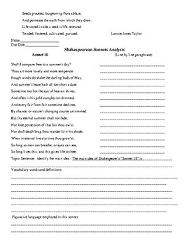 Shakespeare Sonnet Bundle & Test and Key  (17 pages)