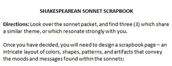 Shakespeare Sonnet Study and Scrapbook Project