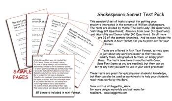 Shakespeare Sonnet Test Pack