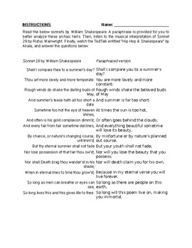 Shakespeare Sonnets 18 & 29 Musical Worksheets
