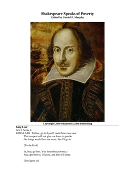 Shakespeare Speaks of Poverty