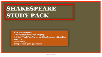 Shakespeare -Speeches, Task and Trivia