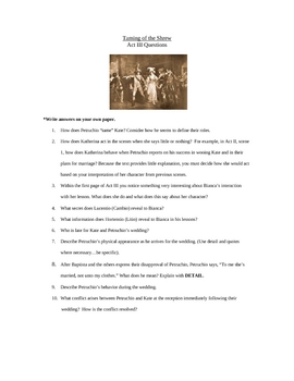 Shakespeare Taming of the Shrew Acts1-5 Study Guides