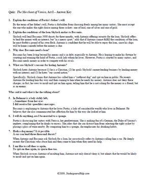 Shakespeare The Merchant of Venice Quizzes  – Short Answer and Quotes