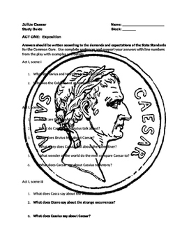 Shakespeare ~ The Tragedy of Julius Caesar Study Questions (Complete Play