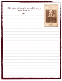 Shakespeare Themed Stationery Notes or Journal Pages